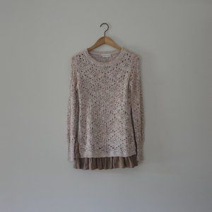 Knox Rose Sweaters - KNOX ROSE Mauve Ruffle Hem Tunic Sweater Size XS